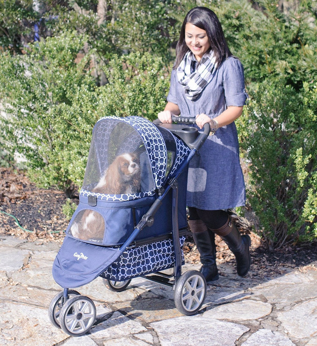 Gen7Pets Dress Blues Monaco™ Aluminum Light Frame Pet Stroller Puppy's Home