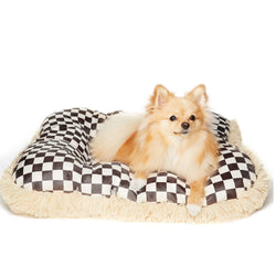 Camel Windsor Check Square Shag Bed by Susan Lanci Puppy's Home