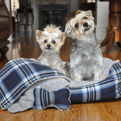 Blue Plaid Dog Bed with Bone and Blanket Puppy's Home
