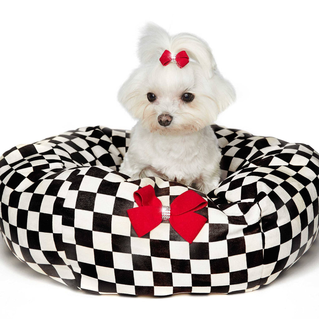 Windsor Check Dog Bed with Red Nouveau Bow Puppy's Home