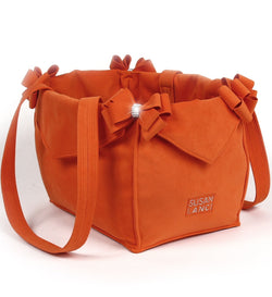 Orange Double Nouveau Bow Luxury Dog Carrier by Susan Lanci Puppy's Home