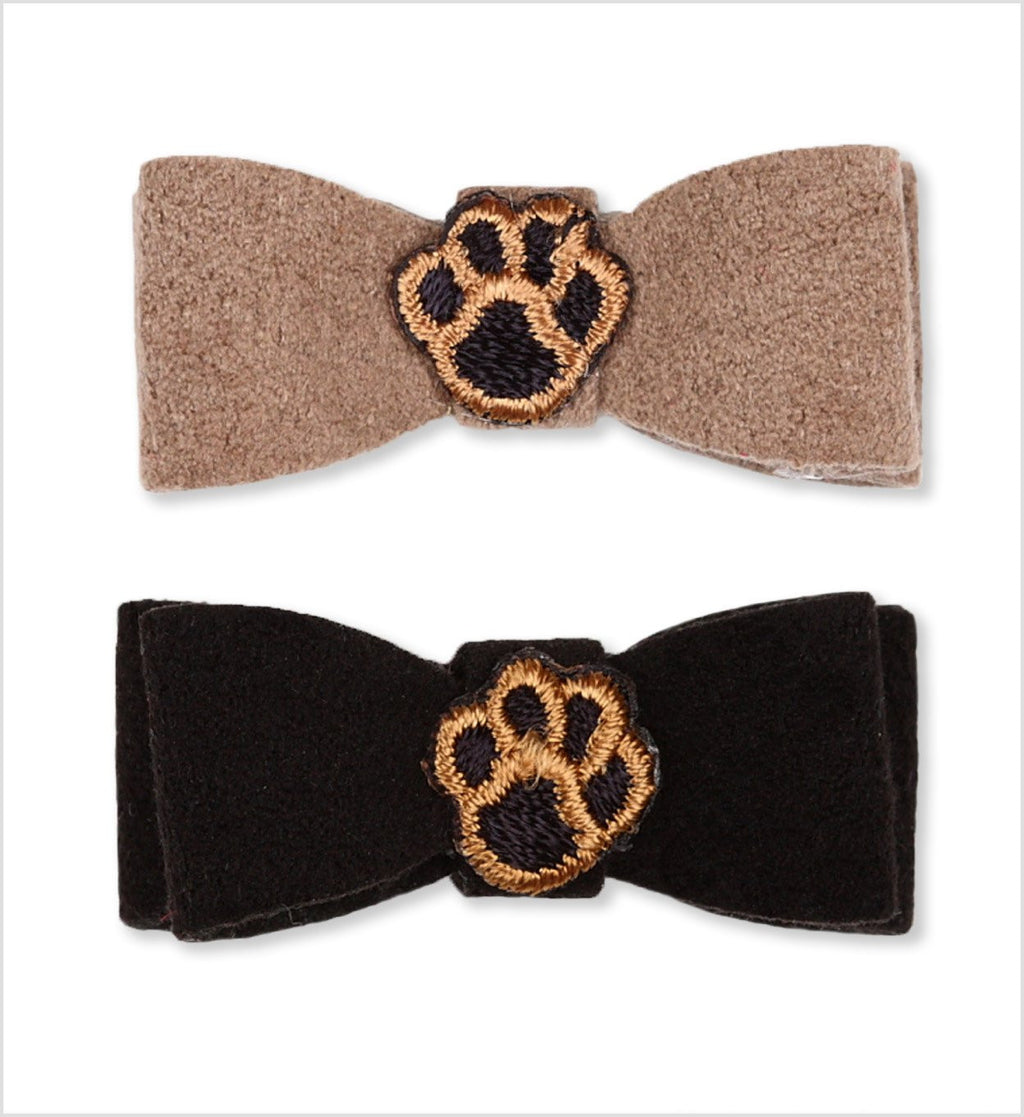 Embroidered Paws Ultrasuede Dog Hair Bow by Susan Lanci Puppy's Home