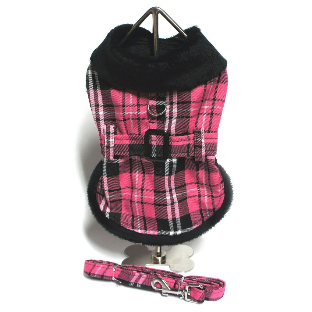 Hot Pink Fur-Trimmed Plaid Dog Coat with Free Leash Puppy's Home