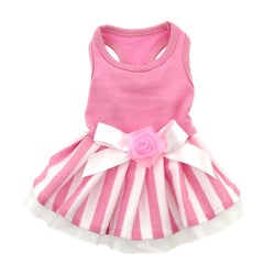 Pink Striped Dog Dress Puppy's Home