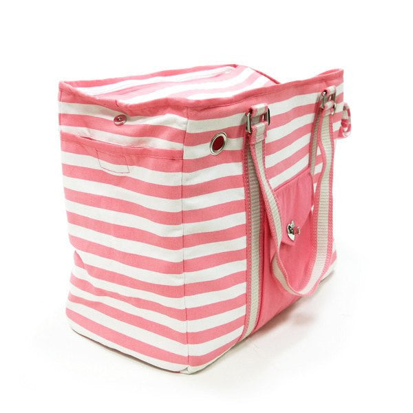 Pink Stripe Dog Carrier Tote Puppy's Home