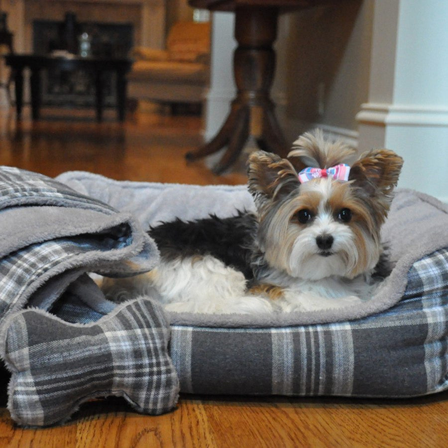 Gray Plaid Dog Bed with Bone and Blanket Puppy's Home