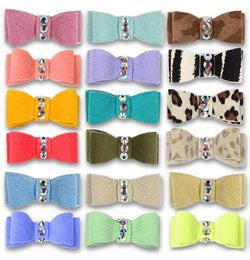 Plain Ultrasuede Swarovski Dog Hair Bow by Susan Lanci Puppy's Home