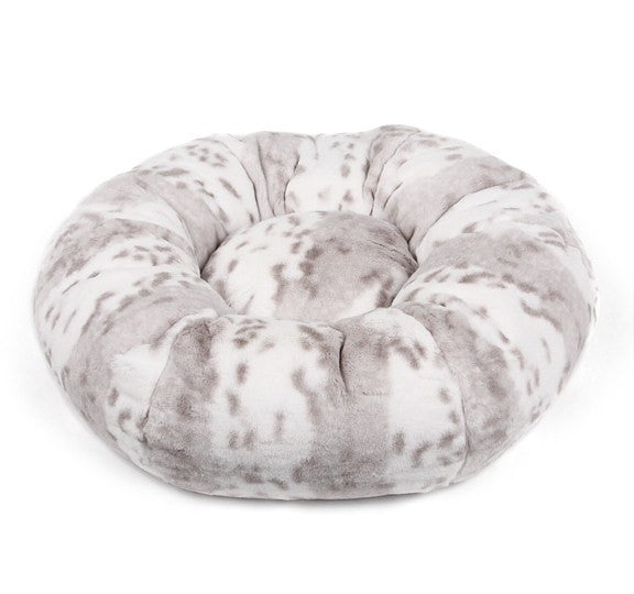 Platinum Snow Leopard Round Dog Bed by Susan Lanci Puppy's Home