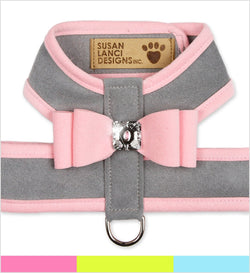 Big Bow Tinkie Dog Harness Contrasting Platinum by Susan Lanci Puppy's Home