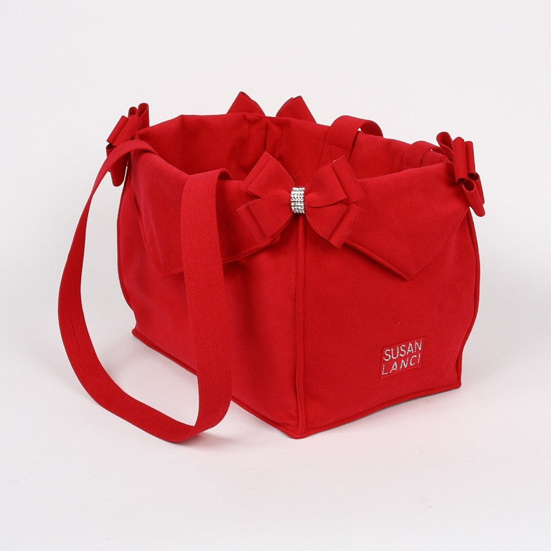 Red Nouveau Bow Purse/Carrier Puppy's Home