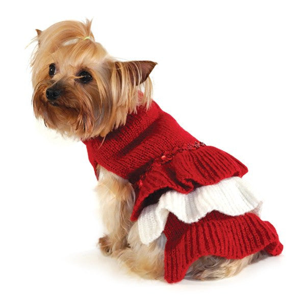 Sequin Holiday Dog Sweater Dress Puppy's Home