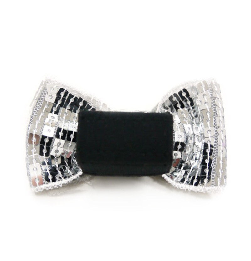 EasyBOW Silver Sequin Dog Bow Tie Puppy's Home