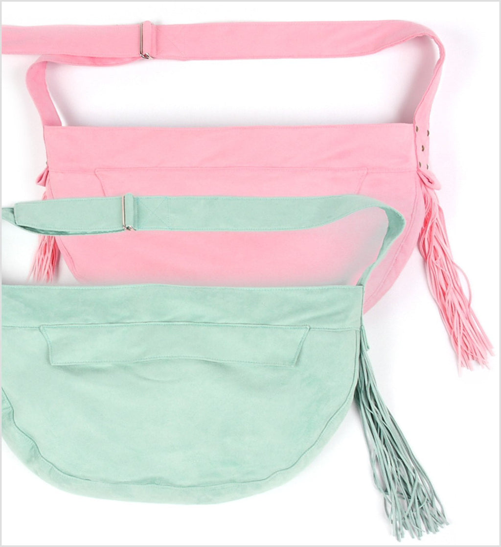 Pastel Luxe Suede Fringe Cuddle Carrier by Susan Lanci Puppy's Home