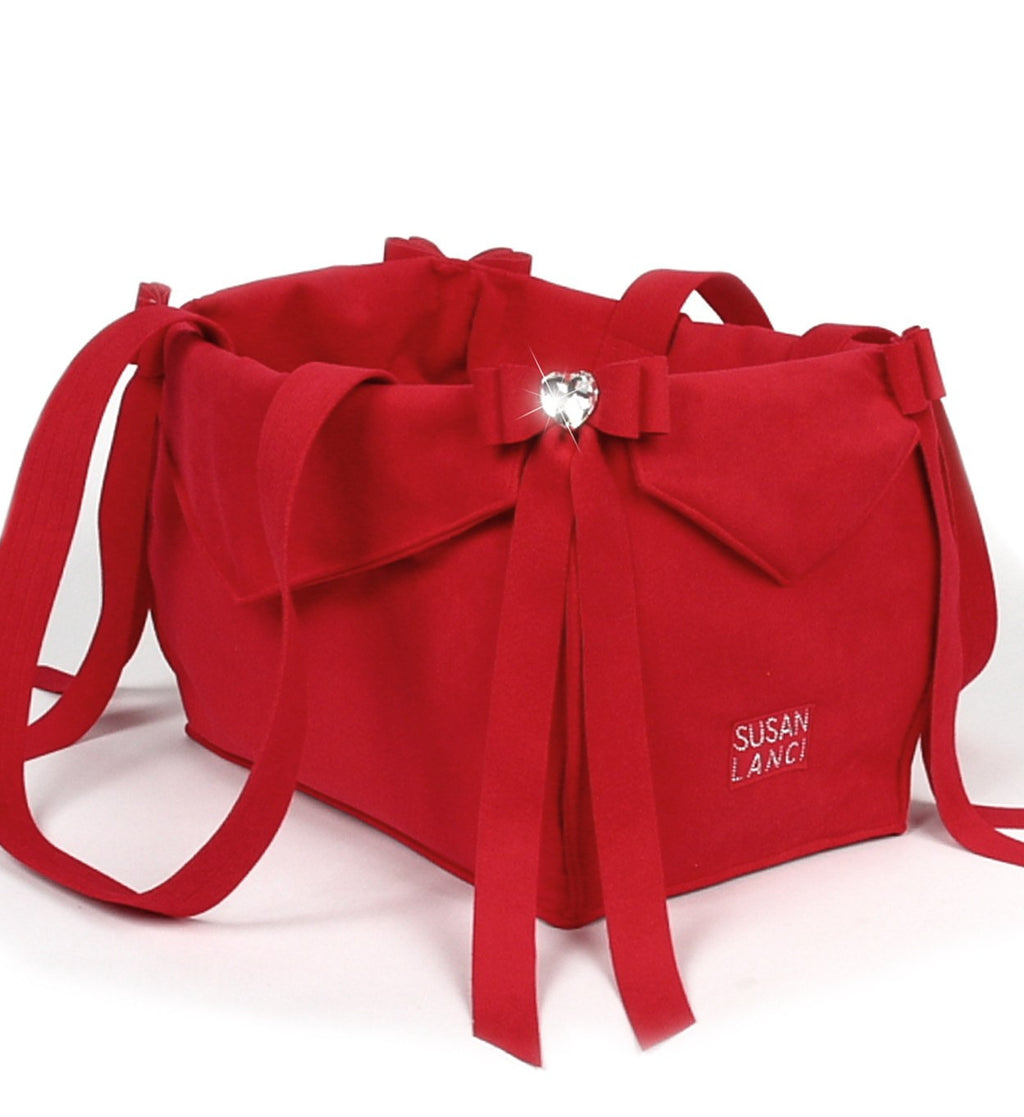 Red Tail Bow Heart Luxury Dog Carrier by Susan Lanci Puppy's Home