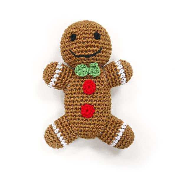 Gingerbread Man Cotton Crochet Squeaky Dog Toy Puppy's Home