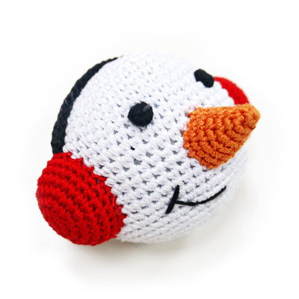 Snowman Crochet Squeaky Dog Toy Puppy's Home