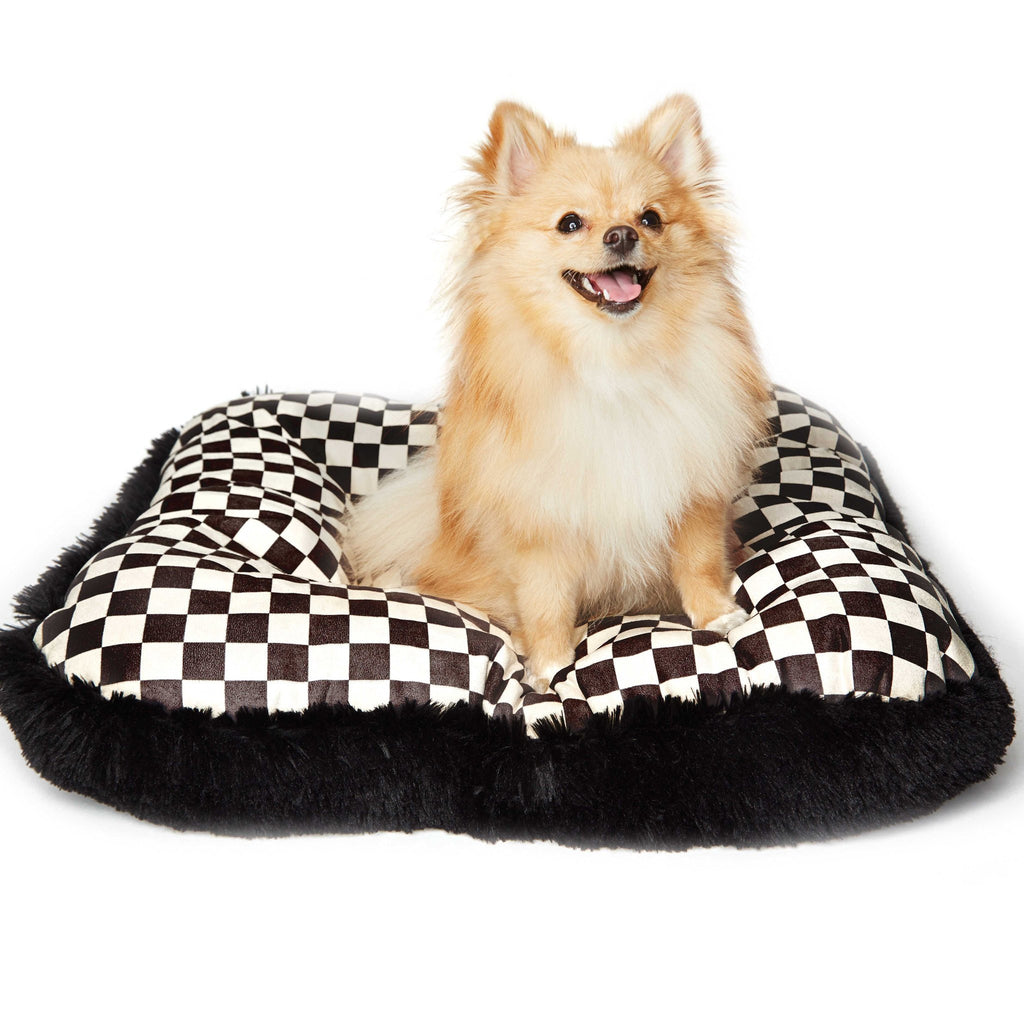 Black Windsor Check Square Shag Bed by Susan Lanci Puppy's Home