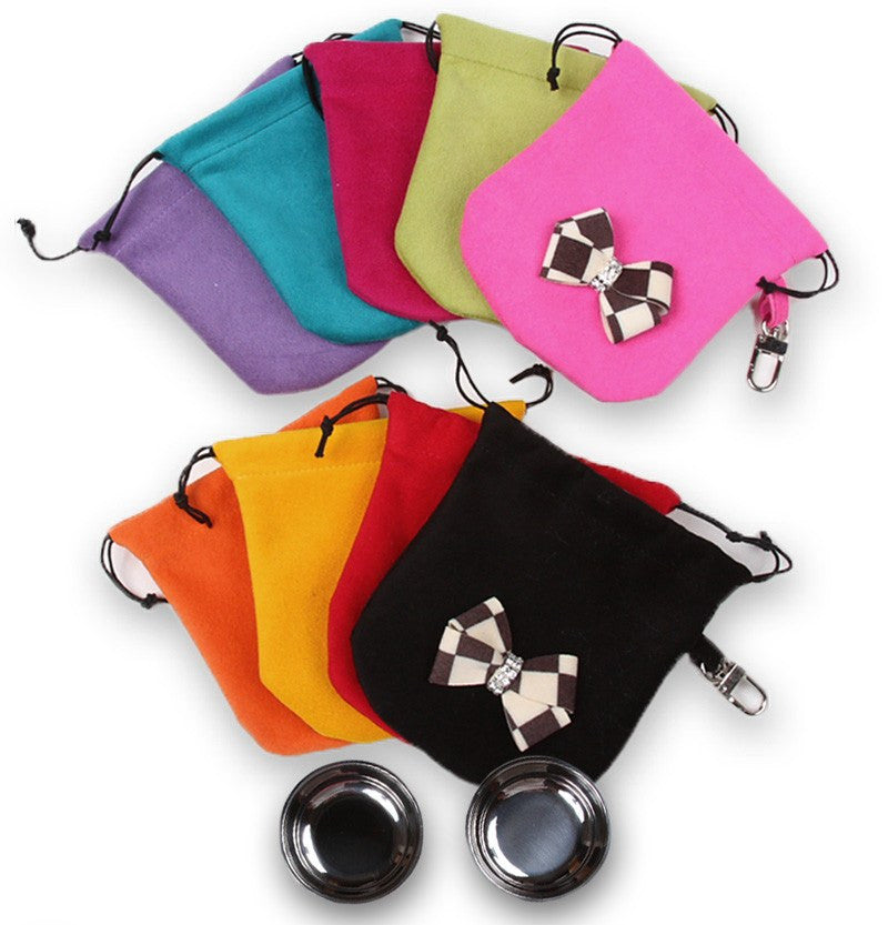 Windsor Check Ultrasuede Travel Pouch with Bowls Puppy's Home