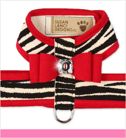 Big Bow Tinkie Dog Harness Zebra Contrasting by Susan Lanci Puppy's Home