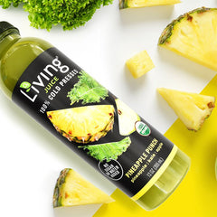 O2 Living Living Juice organic cold-pressed fruit and vegetable Pineapple Punch with organic pineapples kale and apples