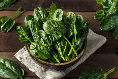 Organic spinach for Living Juice recipe for organic spaghetti squash, mushroom and spinach for heart health in February