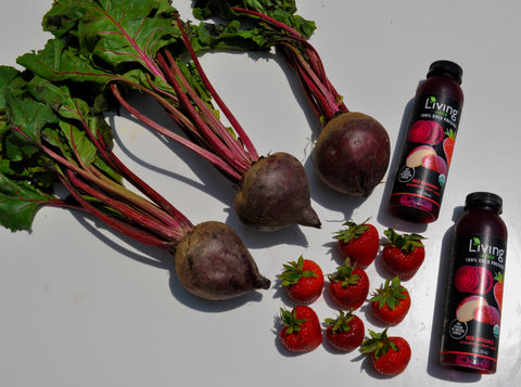 Living Juice's Red Radiance, cold-pressed, organic juice with strawberries, beets and apples