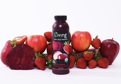 Organic, cold-pressed Living Juice's Red Radiance packed with healthy strawberries, beets and apples