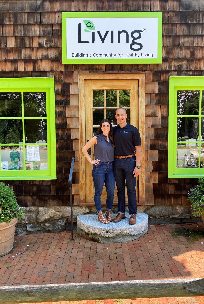 Jen and Mario - first O2 Living Sanctuary franchise owners - makers of organic cold-pressed fruit and vegetable Living Juice