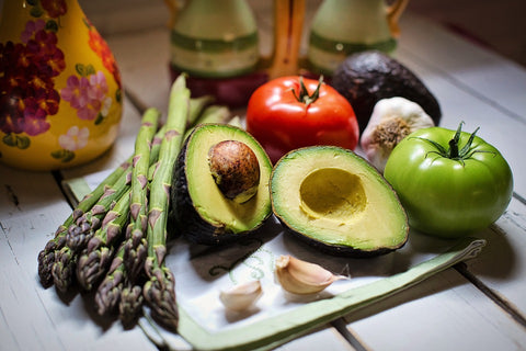 Organic vegetables - avocados tomatoes asparagus - O2 Living blog by makers of Living Health and Wellness hemp extract