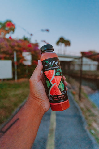 Watermelon lime mint - Living Juice's newest flavor by O2 Living - cold-pressed fruit and vegetable juices watermelon water