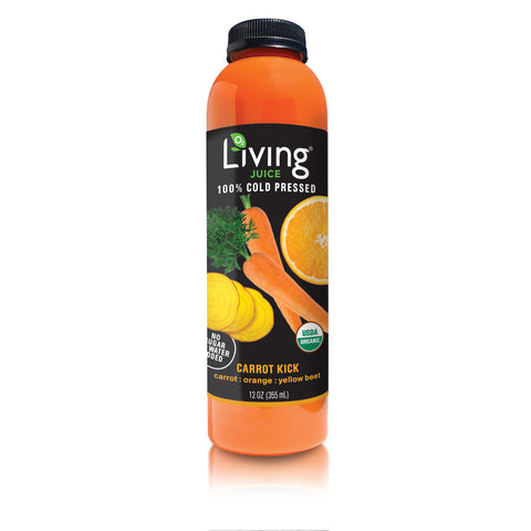 Living Juice Carrot Kick Juice Cleans-O2 Living blog makers of organic cold-pressed fruit and vegetable Living Juice