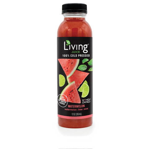 Non-gmo watermelon lime mint Living Juice by O2 Living makers of organic cold-pressed fruit and vegetable Living Juice
