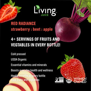 Red Radiance -100% Cold Pressed Strawberry, Beet and Red Apple Juice