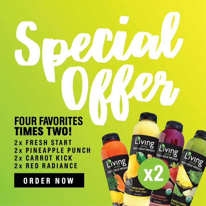 Living Juice Starter Pack - 100% Cold Pressed Fresh Start, Pineapple Punch, Carrot Kick and Red Radiance.