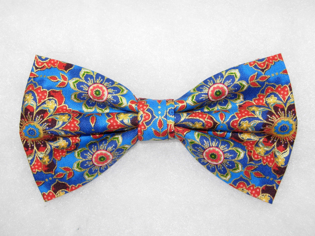 Kaleidoscope Flowers Bow Tie / Blue & Red Flowers / Metallic Gold / Pre-tied Bow tie - Bow Tie Expressions