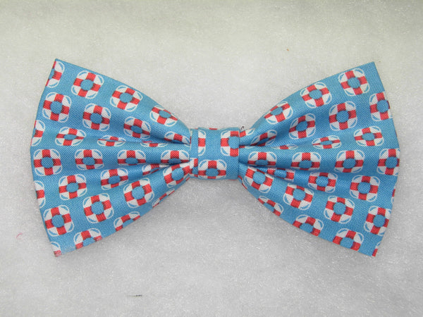 RED & WHITE MINI LIFE PRESERVERS ON BLUE PRE-TIED BOW TIE - Bow Tie Expressions  - 1