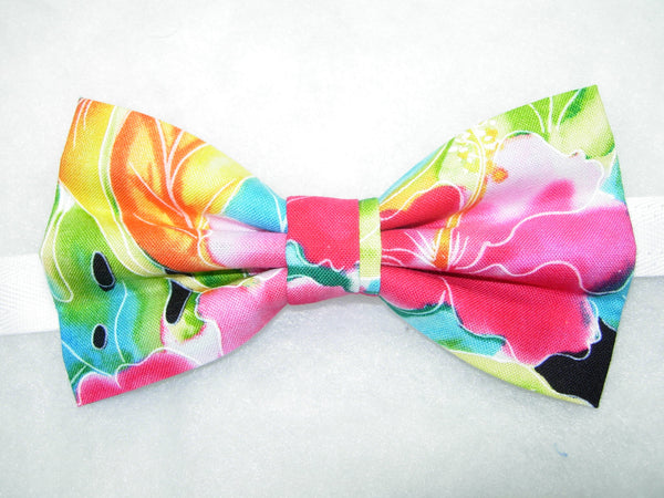 Hawaiian Paradise Bow Tie / Tropical Pink & Red Flowers / Pre-tied Bow tie - Bow Tie Expressions