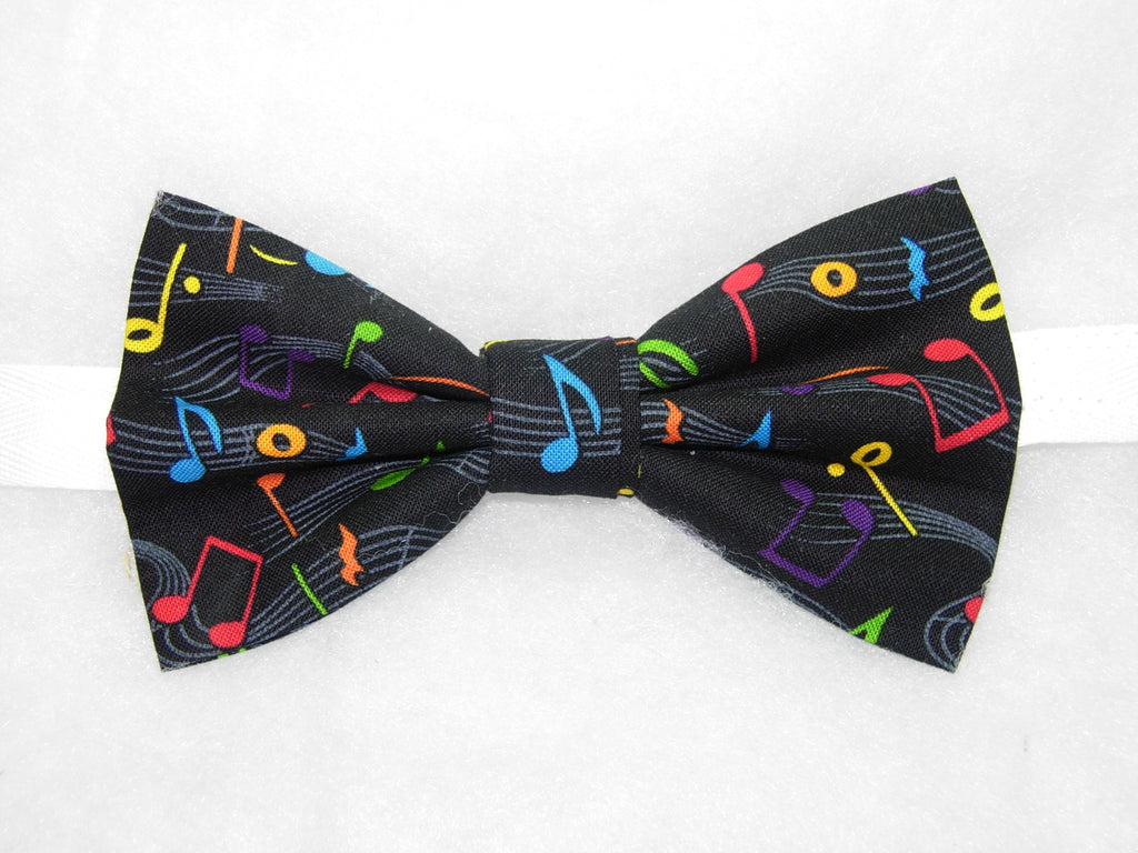 Music Bow tie / Colorful Musical Notes on Black / Recital / Pre-tied Bow tie - Bow Tie Expressions