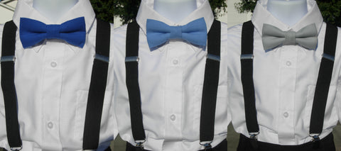 Linen Bow Tie & Suspender Set - Dark Blue, Light Blue & Silver Gray - Boys Black Suspenders - Ages 6mo. - 6yrs. - Bow Tie Expressions