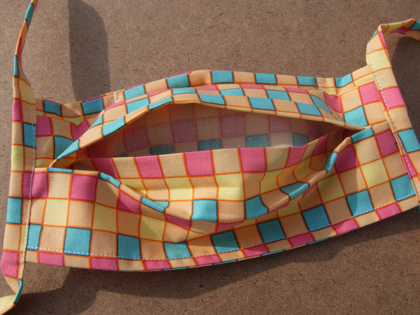Reusable Face Mask / Washable / 3 Layers of Cotton / Filter Pocket / Cotton Tie Backs / Nose Wire / Colorful Checks / Made in USA - Bow Tie Expressions