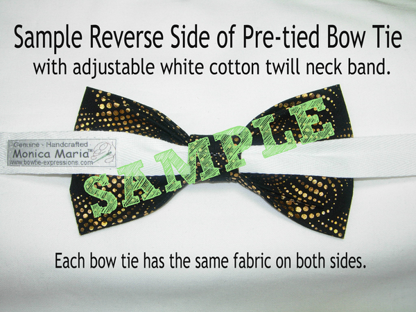 Christmas Bow tie / Green Holly & Red Ribbons on Gold / Self-tie & Pre-tied Bow tie - Bow Tie Expressions