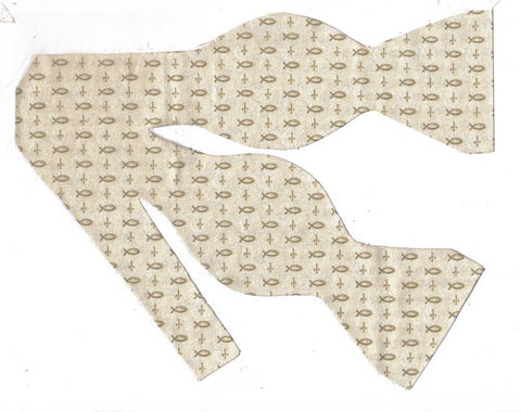 FISHERS OF MEN BOW TIE - CHRISTIAN FISH & CROSSES ON BEIGE - Bow Tie Expressions  - 1
