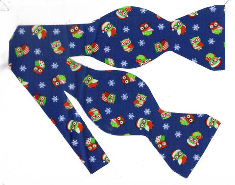 CHRISTMAS OWLS BOW TIE - RED & GREEN HOLIDAY OWLS & SNOWFLAKES ON DARK BLUE - Bow Tie Expressions  - 1