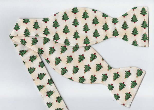 Christmas Tree Bow Tie / Mini Decorated Christmas Trees on Ivory / Self-tie & Pre-tied Bow tie - Bow Tie Expressions
