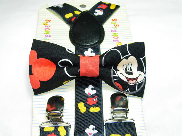 Mickey Mouse Bow Tie & Suspender Set - Boys Mickey Mouse Suspenders - Ages 6mo. - 6 yrs