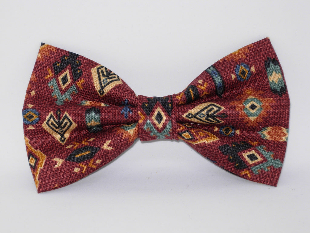 Aztec Bow tie / Tribal Art on Rust Red / Red, Blue, Gold Mosaic Tapestry / Pre-tied Bow tie - Bow Tie Expressions