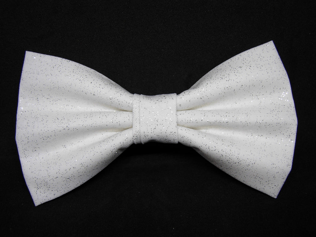 Sparkling White Bow tie / Solid White with Metallic Silver / Pre-tied Bow tie