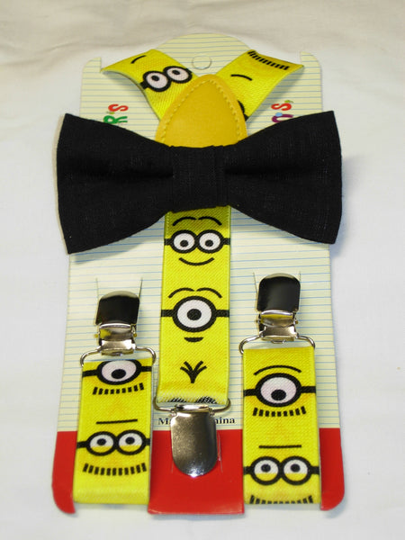 Minion Bow tie & Suspender Set - Yellow/Black - Boys Suspenders - 6mo. - 6yrs.