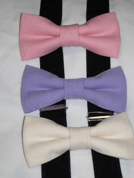 Linen Bow Tie & Suspender Set - Pink, Lavender & Cream - Boys Black Suspenders - Ages 6mo. - 6yrs.