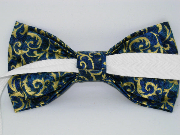 Teal & Gold Bow tie - Pre-tied Bow tie - Metallic Gold Feathery Curls on Teal Blue - Bow Tie Expressions